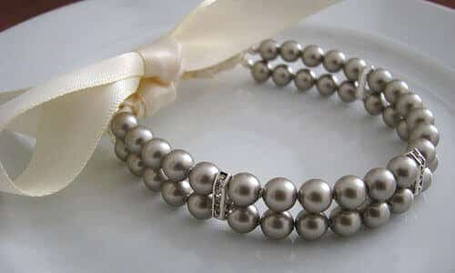 "custom pearl bracelet ""Ribbon-Tied Platinum Pearl Bridesmaid Bracelet with Rhinestones"" 