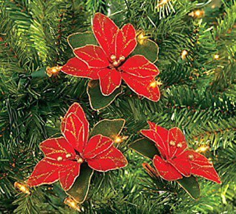 glitter poinsettia ornaments via amazon.com